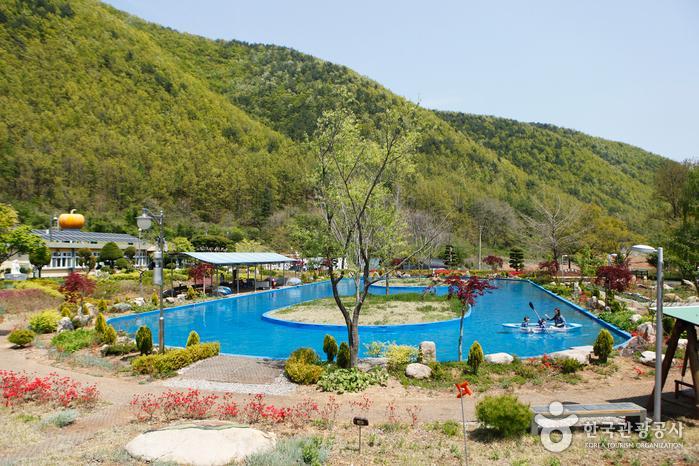 미로초등학교 두타분교를 마을 공동체 정원으로 꾸민 삼척미로정원 전경